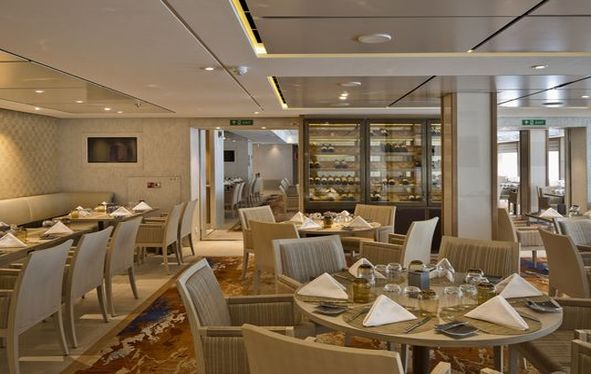 The Restaurant dining room on board a Viking Ocean ship