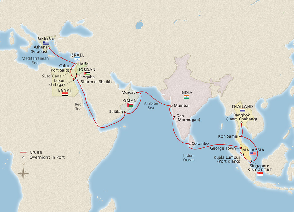 Voyage of marco polo athens to bangkok cruise overview map gumiabroncs Image collections