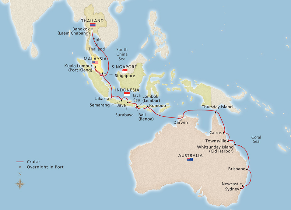South Pacific Sojourn - Bangkok to Sydney - Cruise Overview