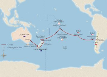 Map of Islands of the South Pacific itinerary