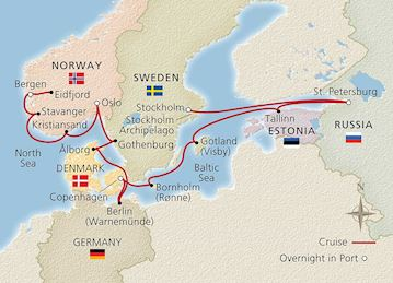 Map of Majestic Fjords & Vibrant Russia itinerary