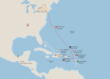 Map of the New York, Bermuda & the West Indies itinerary