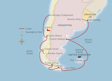 Map of South America & the Chilean Fjords itinerary
