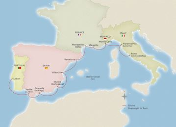 Map of Western Mediterranean Explorer itinerary