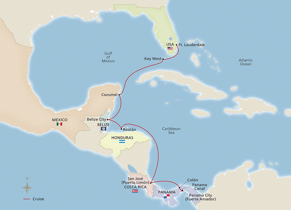 Map of the Classic Panama Canal Passage itinerary