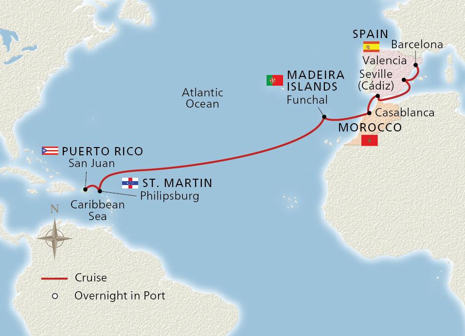 West Indies to Iberia Map