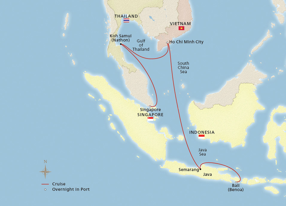Map of the Secrets of Southeast Asia itinerary