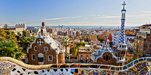 Barcelona skyline created by Antoni Gaudi