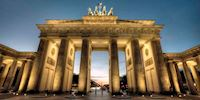 Brandenburg Gate at night in Berlin, Germany