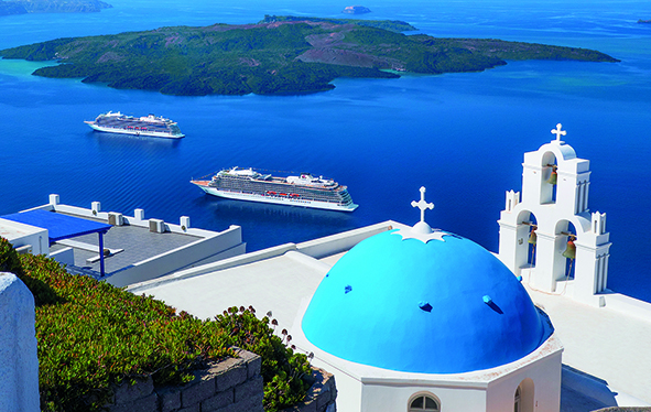 Viking Star and Viking Sea in Santorini