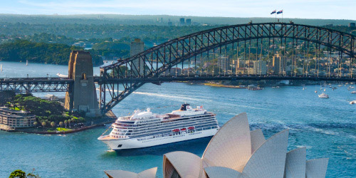 Viking Sun sailing near Sydney Opera House in Australia