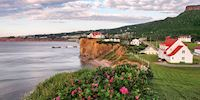 Percé village along the St. Lawrence River