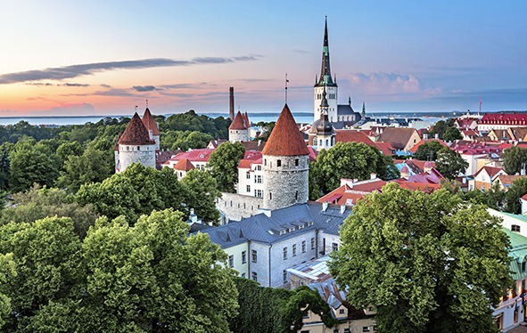 Tallinn, Estonia Old Town Aerial photograph