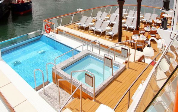 Infinity pool on board Viking Ocean vessel