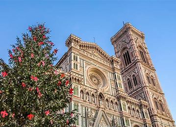 Duomo in FLorence with an enormous christmas tree.