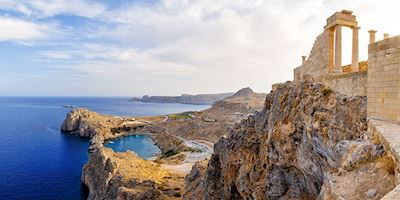 Coastline with Acropolis in  Lindos, Greece