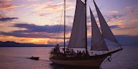 A sailing boat in the sunset at Montego Bay