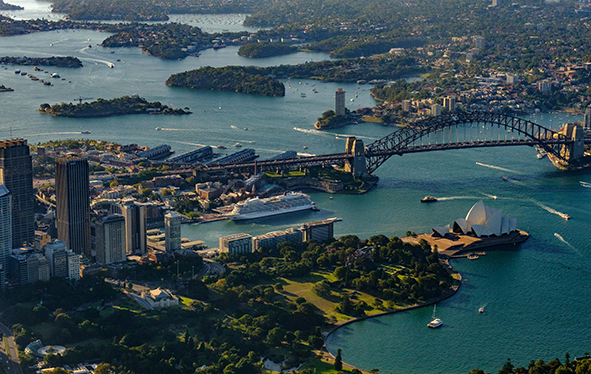 Aerial view of a Viking ocean ship sailing through Sydney Harbor