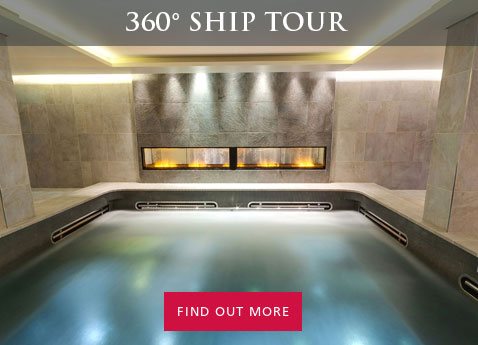 "Interior photo of spa aboard Viking Ocean Cruises ship; overlaid with header text ""360 Degree Ship Tour"" and action text ""Find out more"""