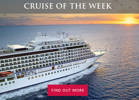 "Photo of Viking Ocean Cruises ship at sea; overlaid with header text ""Cruise of the Week"" and action text ""Find out more"""