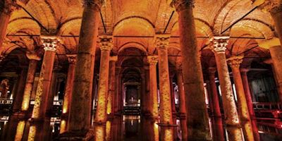 Interior of the Basilica Cistern in Istanbul.