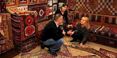 Karine Hagen learning about Turkish Carpets.