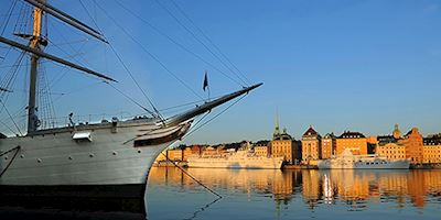 Small ship on the water in Stockholm, Sweden