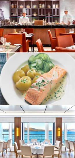 Mosaic of the onboard restaurant and a salmon dinner