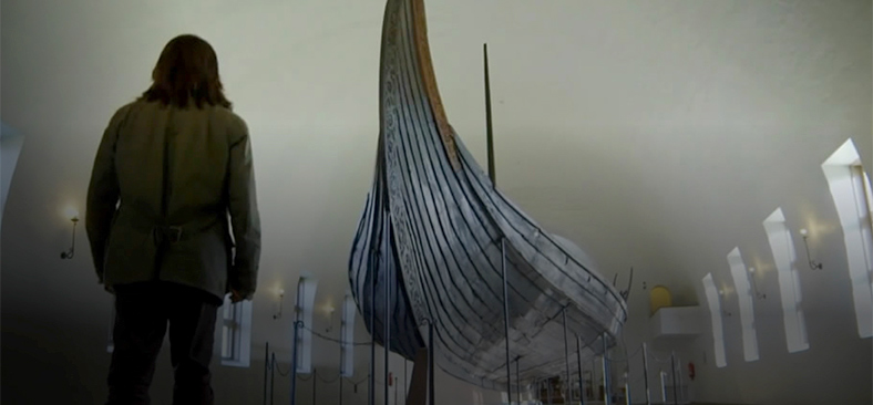 Exhibition of historical Viking longship relic